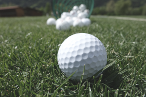 Golf balls choices on the green