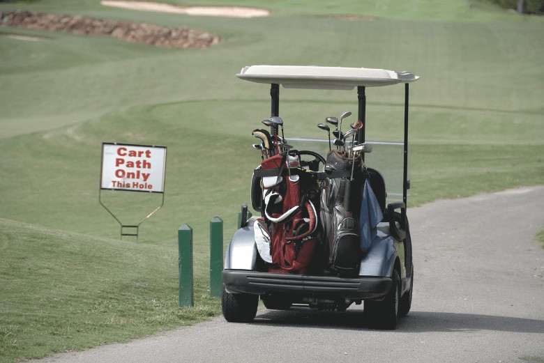 a picture that show different Choosing Best Callaway Strata bags on a cart