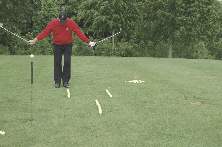 a golfer who's practicing with a Practice Golf Balls